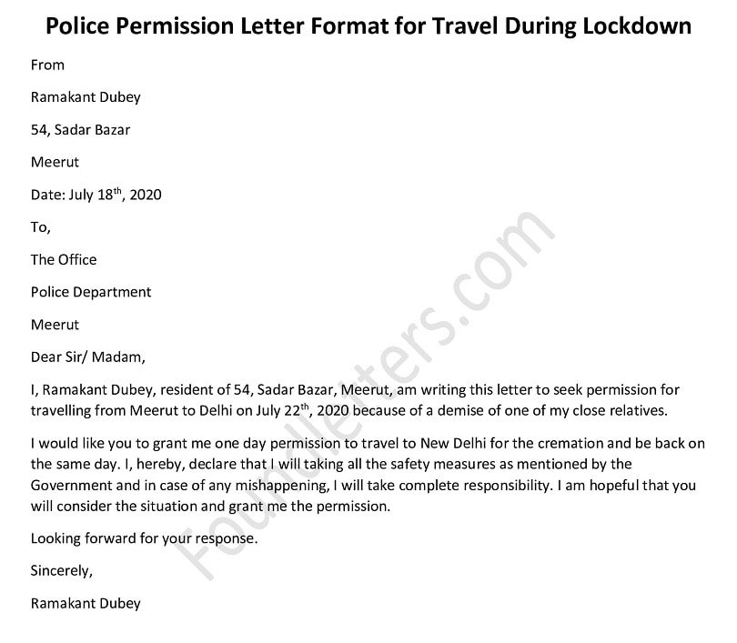 Police permission letter to travel during lockdown, COVID-19 permission Letter