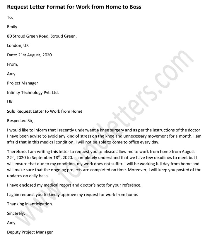 Work from Home Request Letter to Boss, Work from Home Letter Format