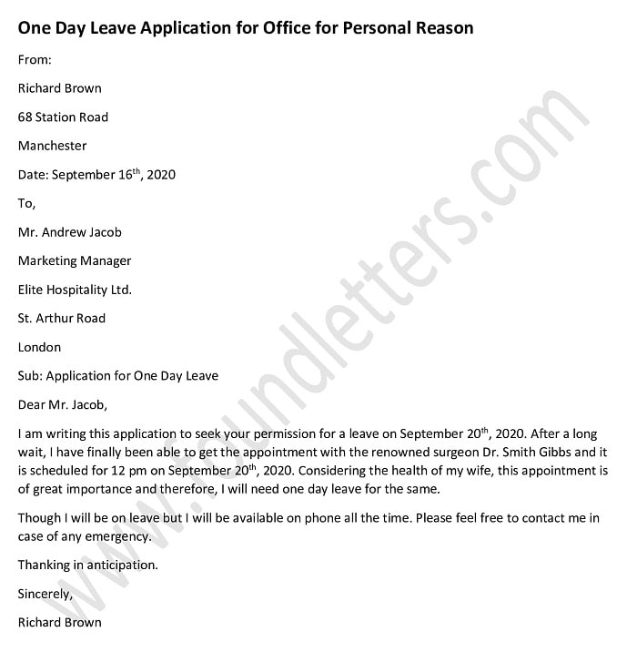 One day leave application for office for personal reason