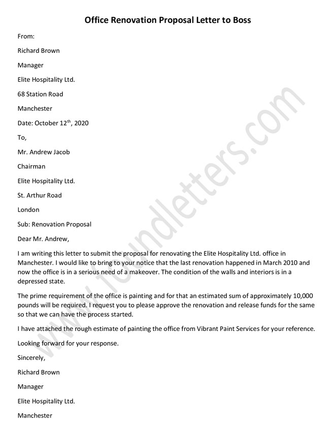 Office Renovation Proposal letter to Boss, Proposal letter Format